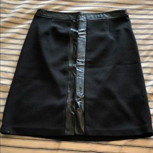 Laundry black midi skirt with leather detail